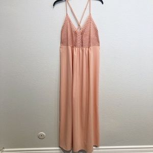 Dresses & Skirts - Pink crochet maxi dress